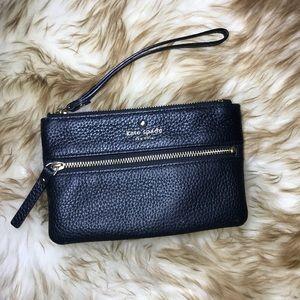 Kate Spade Black Leather Wallet Wristlet Zipper